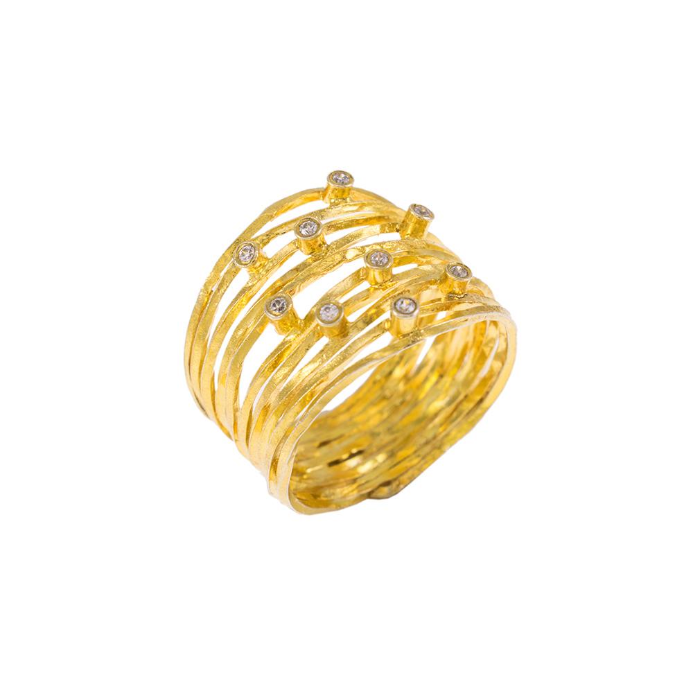 """Δακτυλίδι """"LINES""""  σε κίτρινο χρυσό 14ΚΤ με ζιργκόν."""