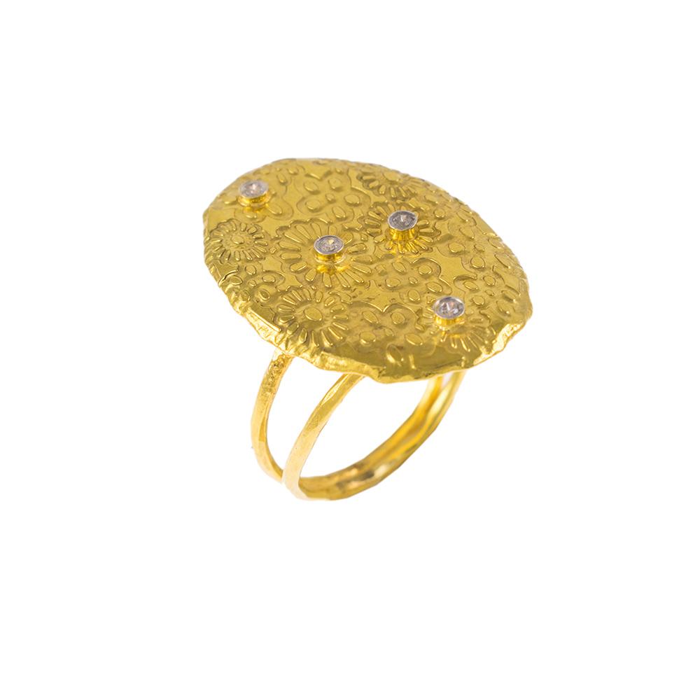 """Δακτυλίδι πλακέτα """"DAISIES"""" σε κίτρινο χρυσό 14ΚΤ με ζιργκόν."""