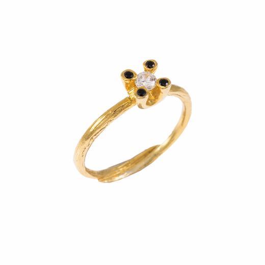 Δακτυλίδι μονόπετρο σε κίτρινο χρυσό 18ΚΤ με διαμάντι 0.17ct και μαύρα διαμάντια 0,04ct