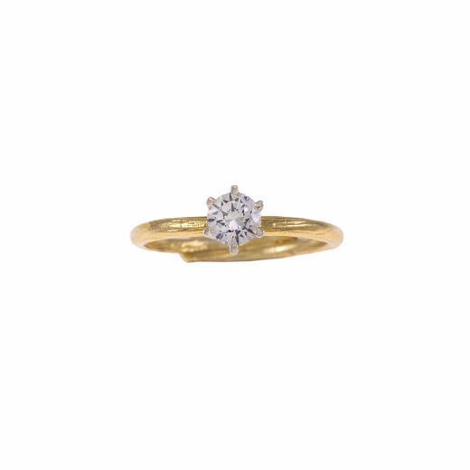 Δακτυλίδι μονόπετρο σε κίτρινο και λευκό χρυσό 18ΚΤ με διαμάντι 0,35ct.