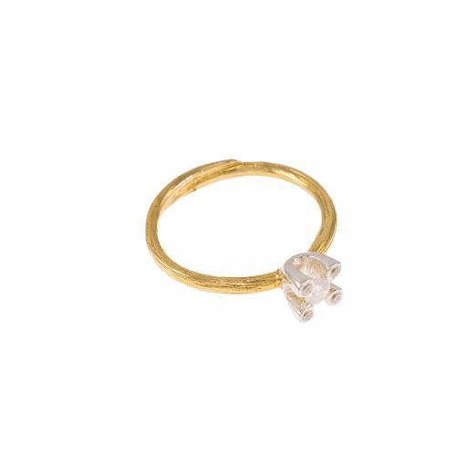 Δακτυλίδι μονόπετρο σε κίτρινο χρυσό 18ΚΤ με διαμάντι 0.19ct και 0,04ct