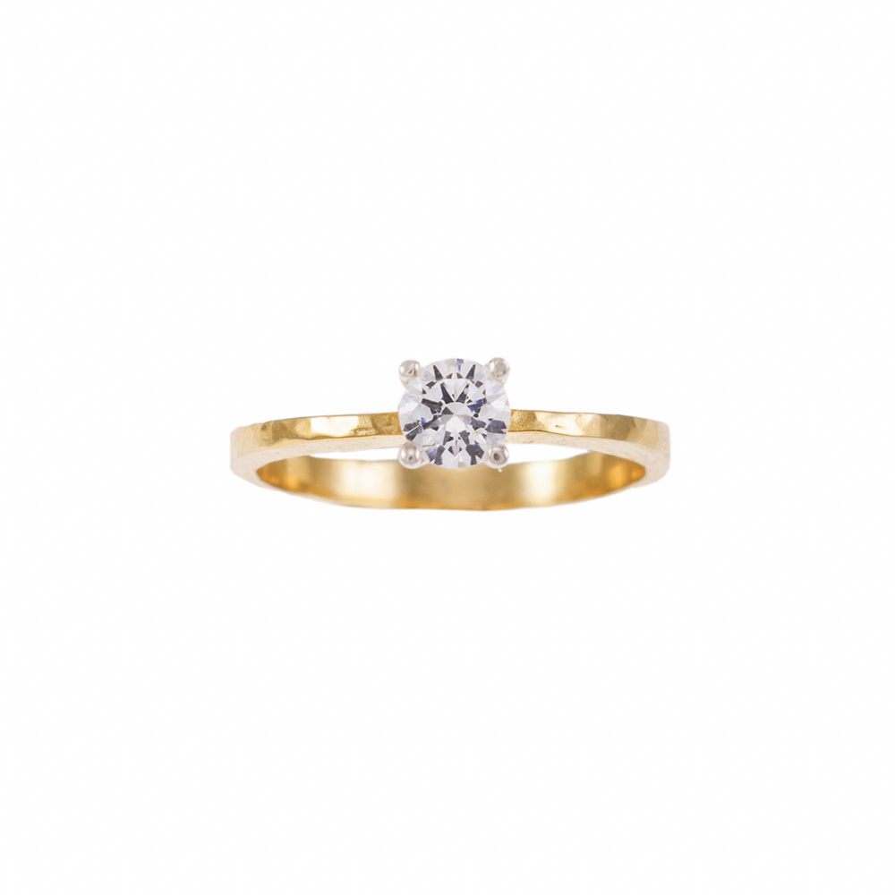 Δακτυλίδι μονόπετρο σε κίτρινο και λευκό χρυσό 18ΚΤ με διαμάντι 0.27ct