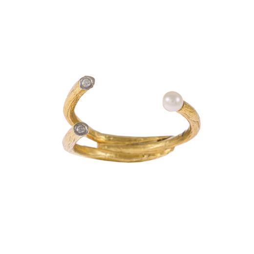 Δακτυλίδι σε κίτρινο χρυσό 14ΚΤ με μαργαριτάρι και ζιργκον
