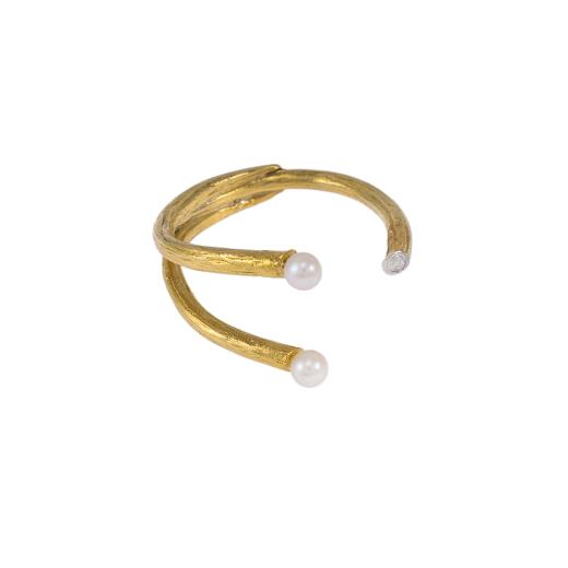 Δακτυλίδι σε κίτρινο χρυσό 14ΚΤ με μαργαριτάρι και ζιργκον.