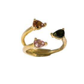 Ring in yellow  gold 14kt  with synthetic stones