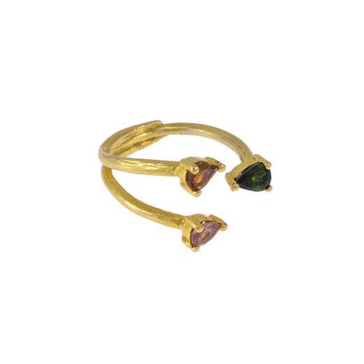 Δακτυλίδι σε κίτρινο χρυσό 14ΚΤ με συνθετικές πέτρες