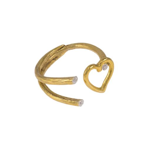 """Δακτυλίδι """"RAYS"""" and """"HEART"""" σε κίτρινο χρυσό 14ΚΤ με ζιργκόν."""