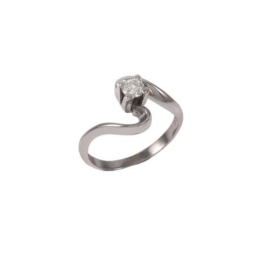 Δακτυλίδι μονόπετρο σε λευκό  χρυσό 18ΚΤ με διαμάντι 0,17ct