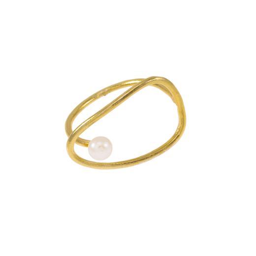 """ΔακτυλίδI """"CYCLES""""  σε κίτρινο χρυσό 14ΚΤ με μαργαριτάρι."""