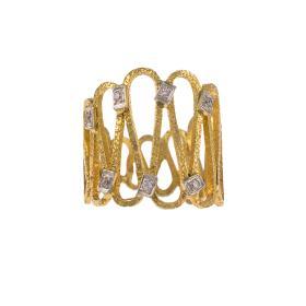 """Δακτυλίδι  """"ANCIENT DISPOTITION""""  σε κίτρινο χρυσό 14ΚΤ με ζιργκόν."""