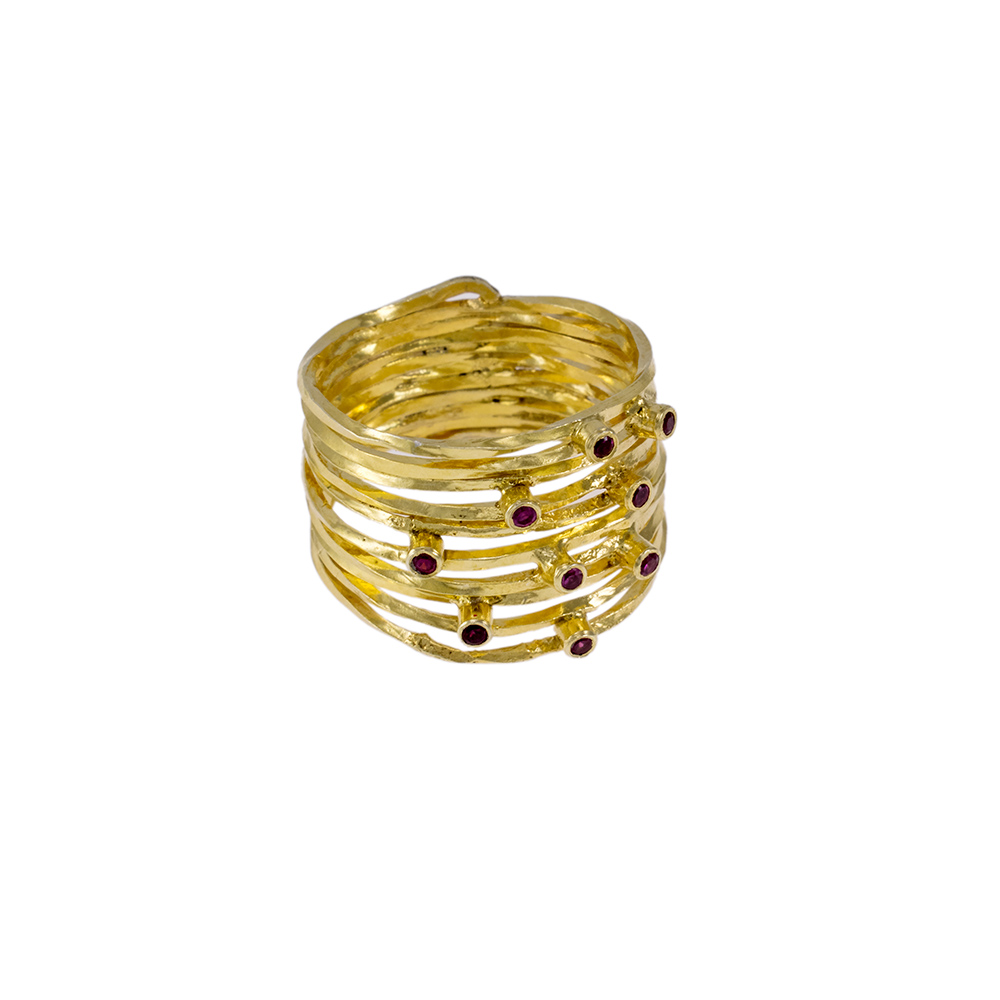 Δακτυλίδι 'LINES'' σε κίτρινο χρυσό 14ΚΤ με γρανάδα