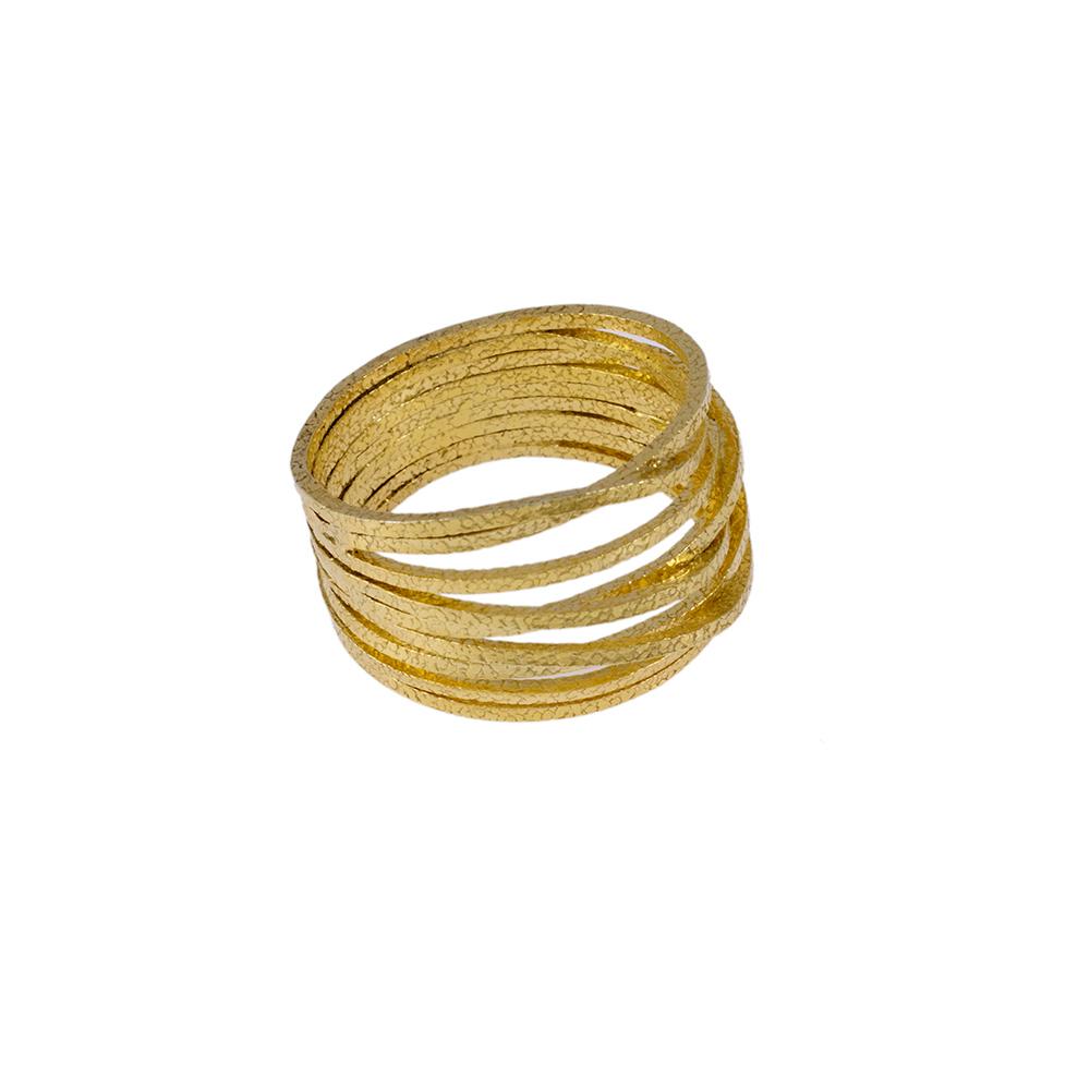 """Δακτυλίδι """"LINES"""" σε κίτρινο χρυσό 14ΚΤ ."""