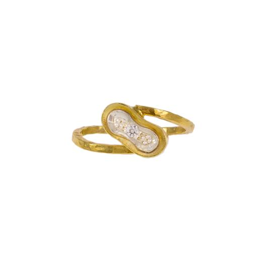 Δακτυλίδι σε κίτρινο χρυσό 14ΚΤ με ζιργκόν.