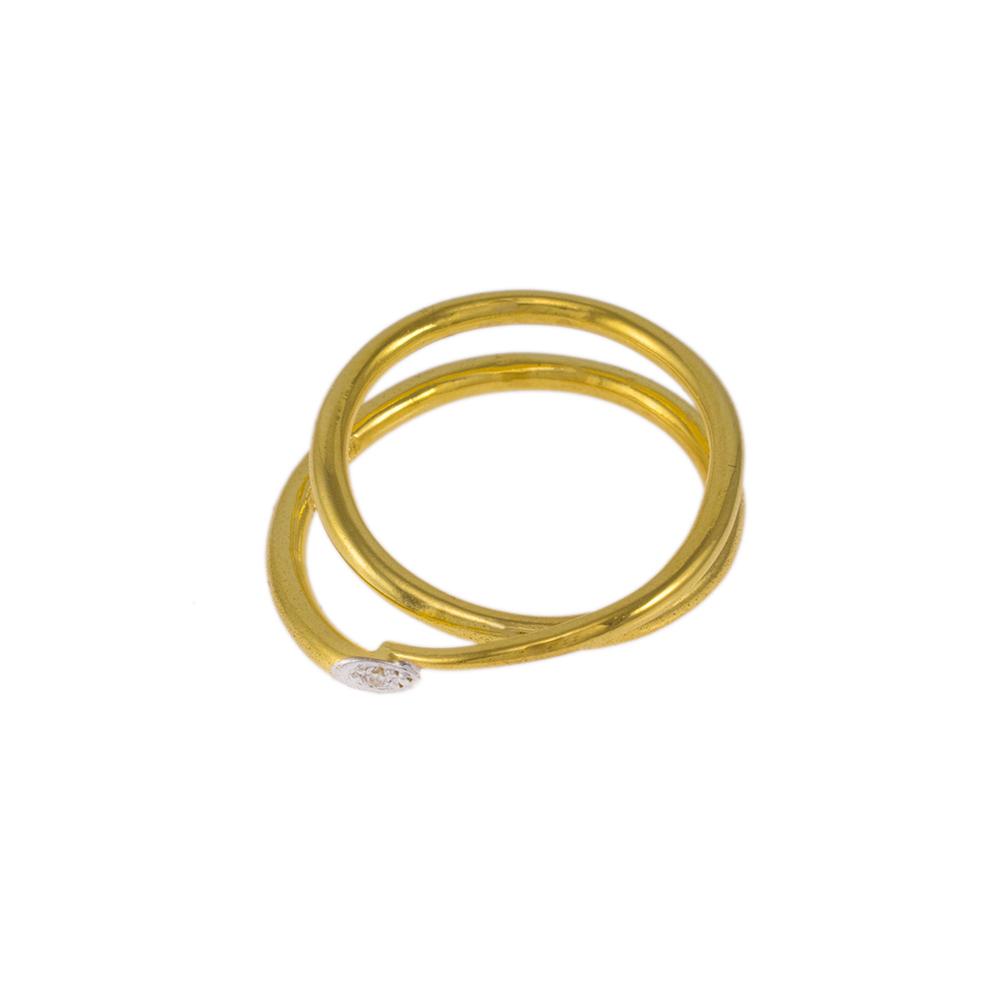 """Δακτυλίδι """" DOUBLE RING"""" σε κίτρινο χρυσό 14ΚΤ με ζιργκόν."""
