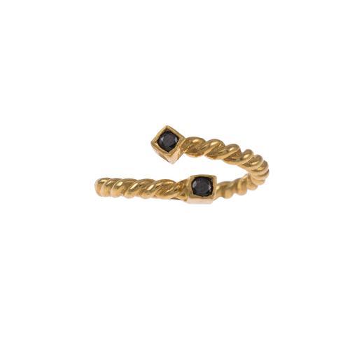 """Δακτυλίδι """"TWIST"""" σε κίτρινο χρυσό 14ΚΤ με μαύρα ζιργκόν  ."""