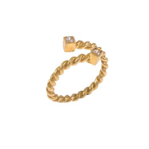 """Δακτυλίδι """"TWIST"""" σε κίτρινο χρυσό 14ΚΤ με ζιργκόν."""