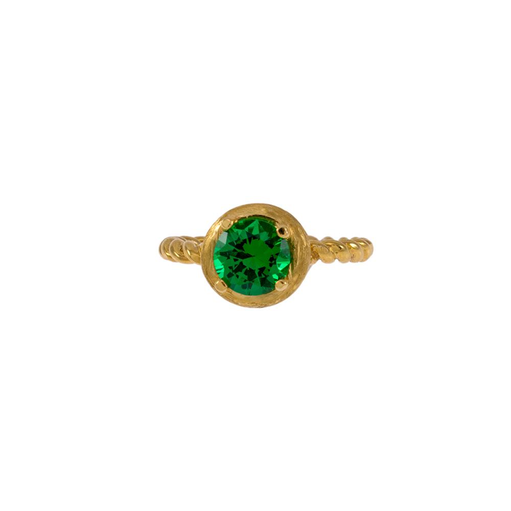 Δακτυλίδι σε κίτρινο χρυσό 14ΚΤ με συνθετική πράσινη πέτρα.