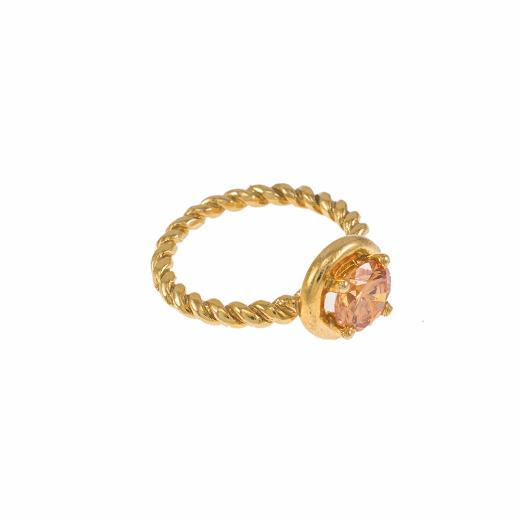 "Ring  ""TWIST"" in yellow gold 14kt with synthetic yellow stone"