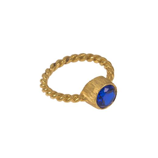 """Δακτυλίδι """"TWIST"""" σε κίτρινο χρυσό 14ΚΤ με συνθετική μπλε πέτρα"""