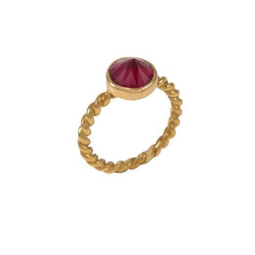 Δακτυλίδι σε κίτρινο χρυσό 14ΚΤ με συνθετική κόκκινη πέτρα