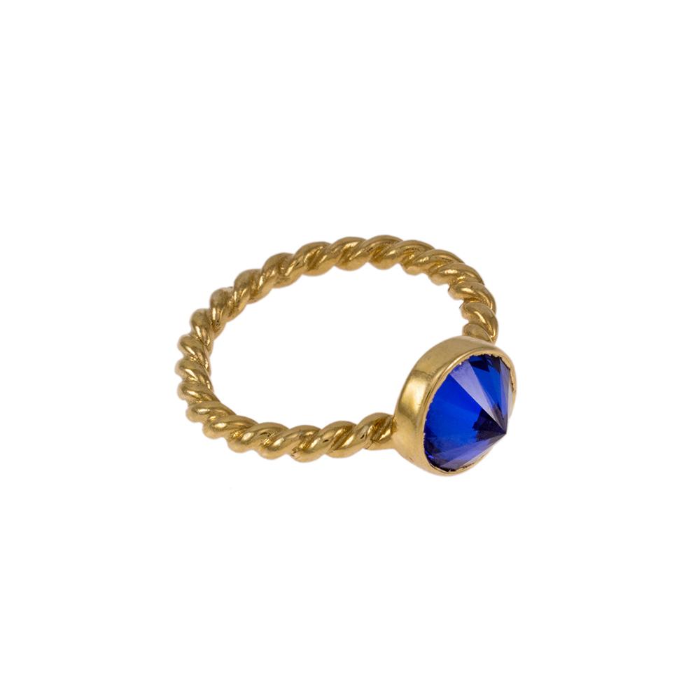 Δακτυλίδι σε κίτρινο χρυσό 14ΚΤ με συνθετική μπλε πέτρα