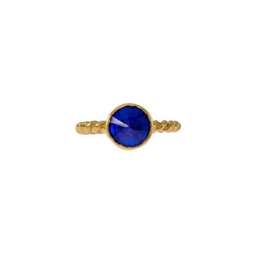 Δακτυλίδι σε κίτρινο χρυσό 14ΚΤ με συνθετική μπλε πέτρα.