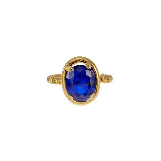 """Δακτυλίδι """"TWIST"""" σε κίτρινο χρυσό 14ΚΤ με συνθετική μπλε οβάλ πέτρα."""