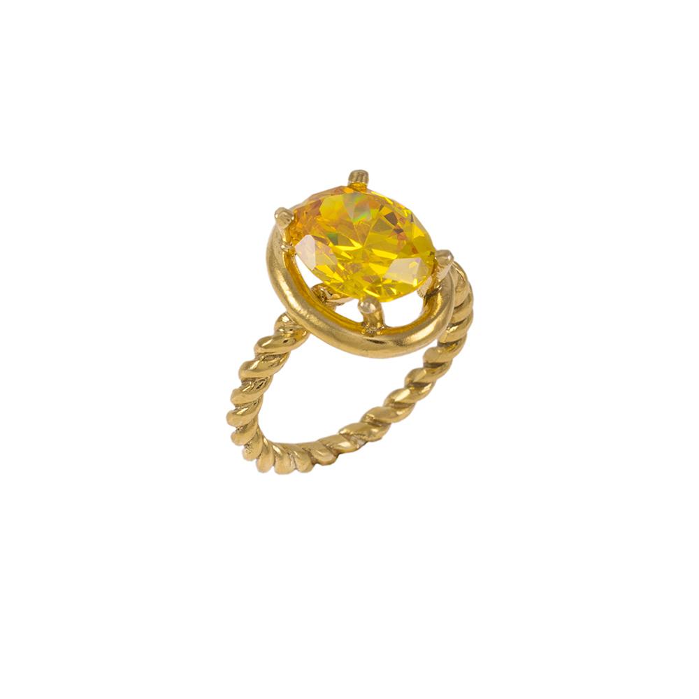 Δακτυλίδι σε κίτρινο χρυσό 14ΚΤ με συνθετική κίτρινη οβάλ πέτρα