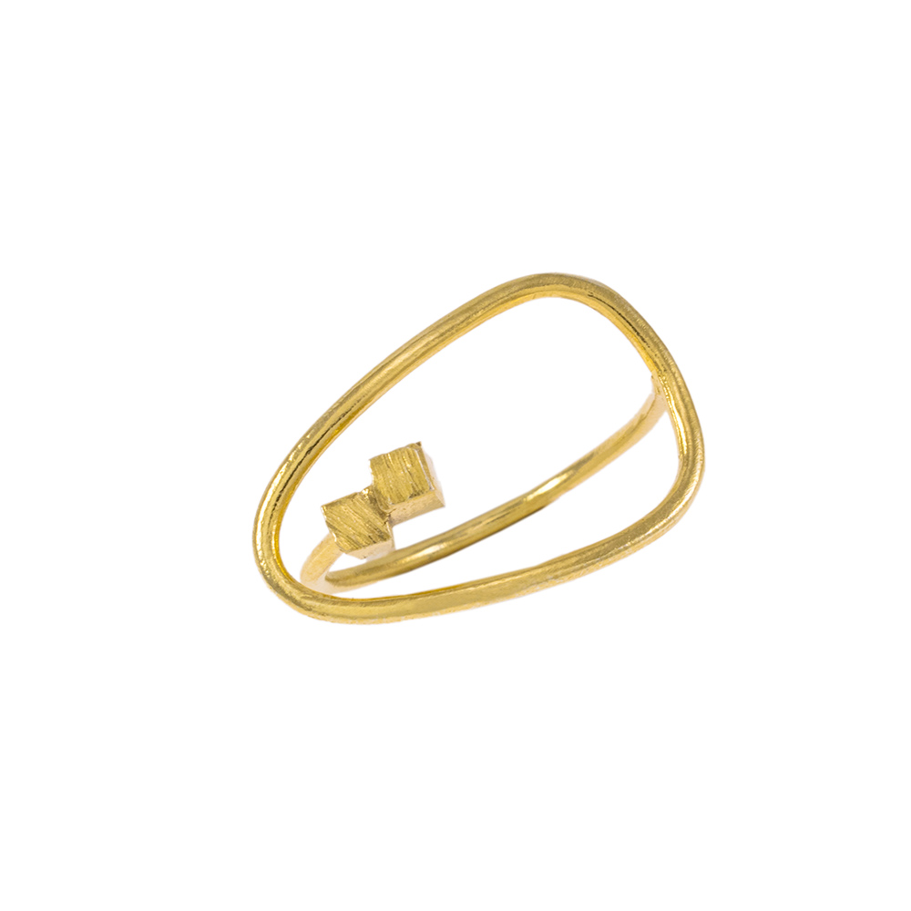 """Δακτυλίδι """"CUBES"""" σε κίτρινο χρυσό 14ΚΤ ."""