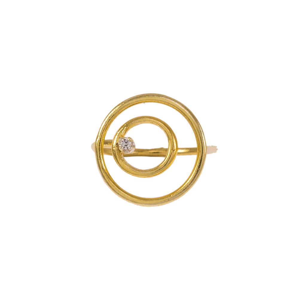 """Δακτυλίδι  """"CYCLE"""" σε κίτρινο  χρυσό  14ΚΤ με ζιργκόν."""