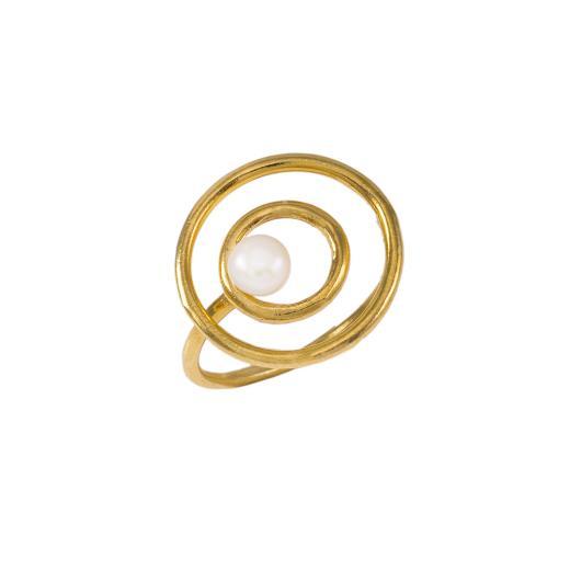 """Δακτυλίδι """"CYCLE"""" σε κίτρινο χρυσό 14ΚΤ με μαργαριτάρι."""
