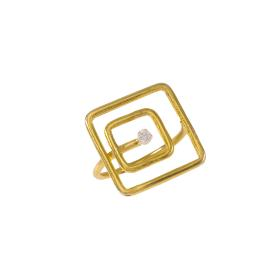 "Ring ""SQUARE"" 14kt gold with zirgon."