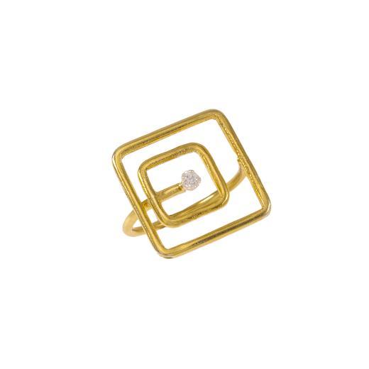 """Δακτυλίδι """"SQUARE"""" σε κίτρινο χρυσό 14ΚΤ με ζιργκόν."""