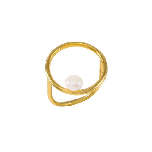 """Δακτυλίδι """"CYCLES"""" σε κίτρινο χρυσό 14ΚΤ με μαργαριτάρι."""
