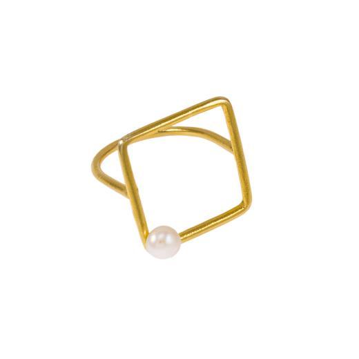 """Δακτυλίδι """"SQUARE""""σε κίτρινο χρυσό 14ΚΤ με μαργαριτάρι."""
