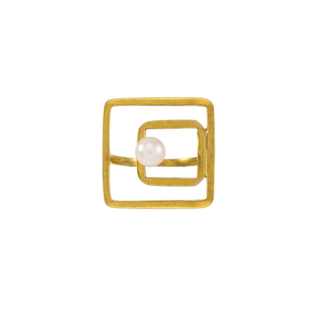 """Δακτυλίδι """"SQUARE"""" σε κίτρινο χρυσό 14ΚΤ με μαργαριτάρι"""