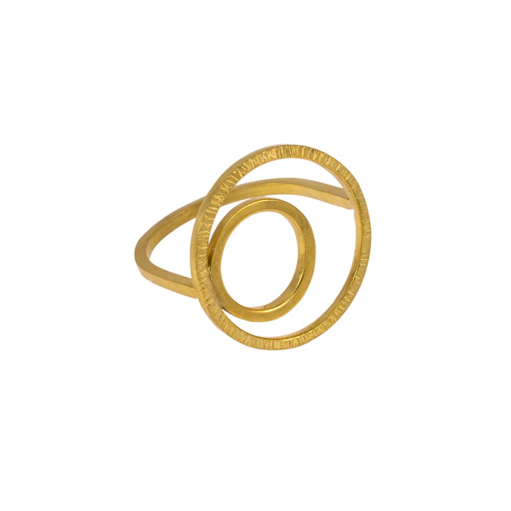 """Δακτυλίδι """"CYCLE"""" με δύο κύκλου διαφορετικών επιφανειών σε κίτρινο χρυσό 14ΚΤ ."""