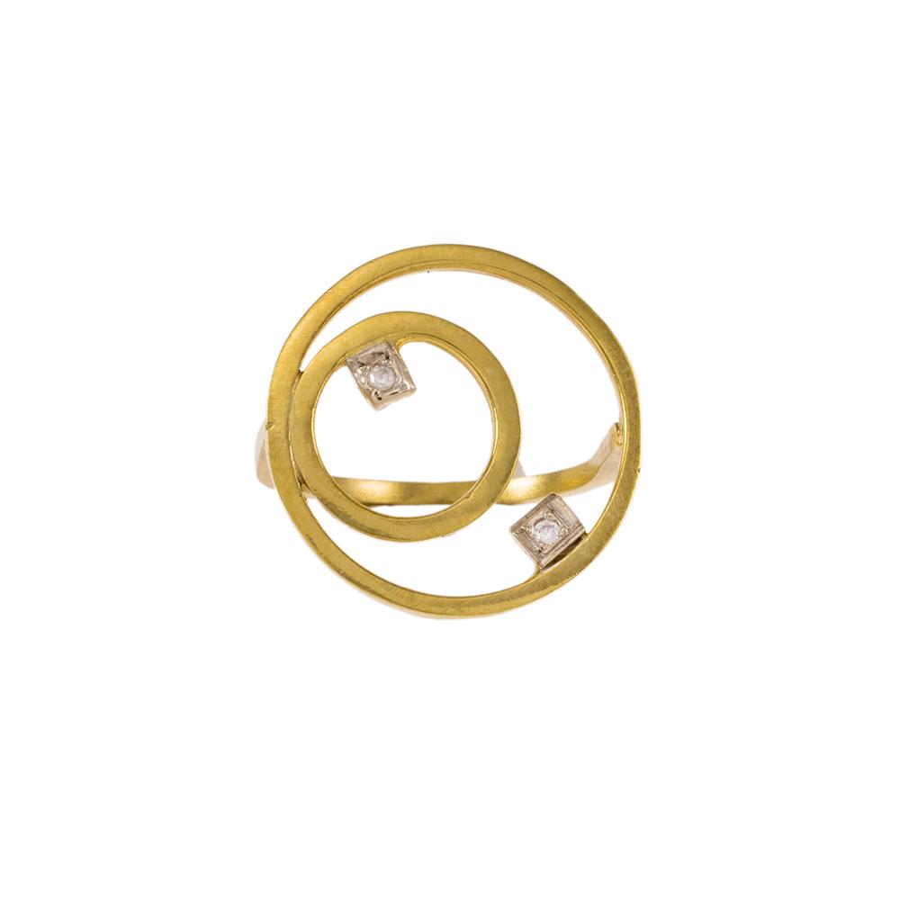 """Δακτυλίδι  """"CYCLE""""  σε κίτρινο ματ χρυσό 14ΚΤ με ζιργκόν."""