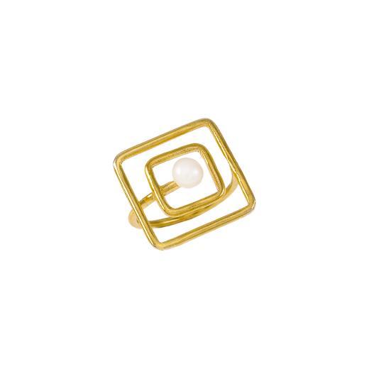 """Δακτυλίδι """"SQUARE"""" σε κίτρινο χρυσό 14ΚΤ με μαργαριτάρι."""