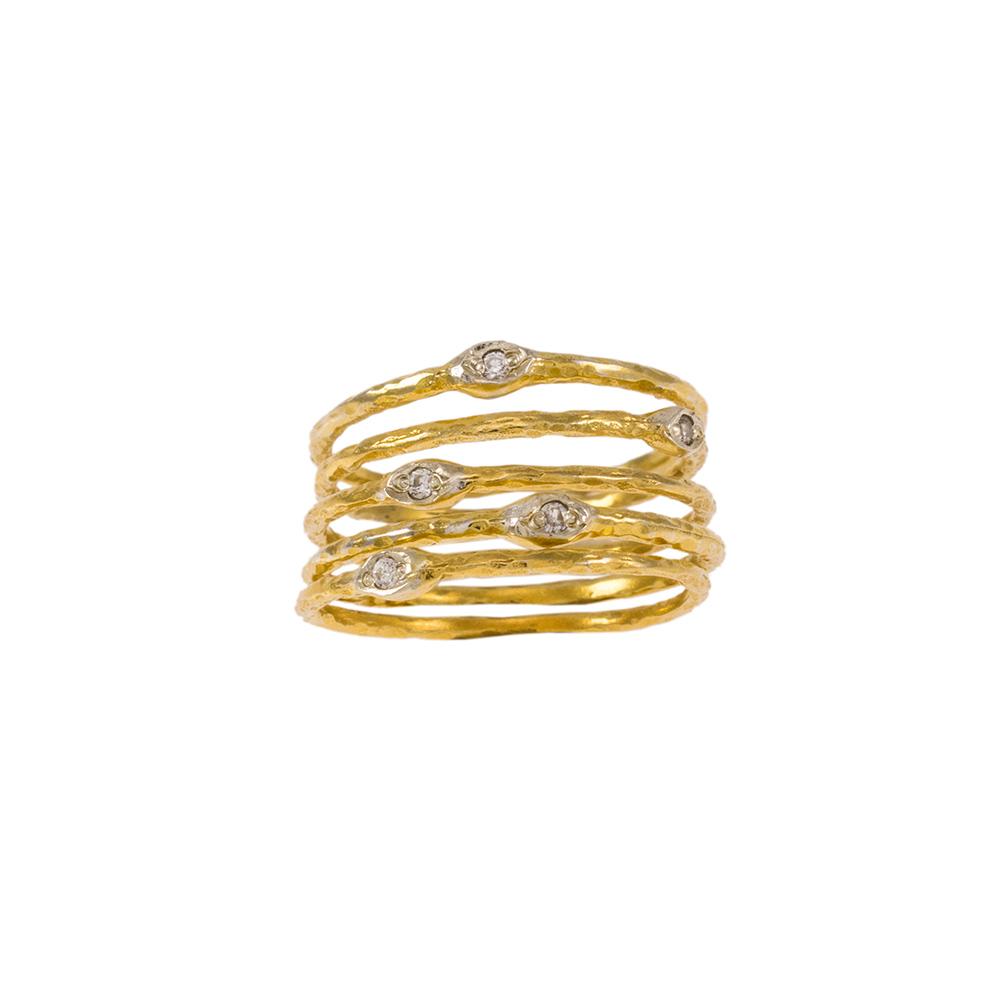 """Δακτυλίδια """"LINES""""  σε κίτρινο χρυσό 14ΚΤ με ζιργκόν."""