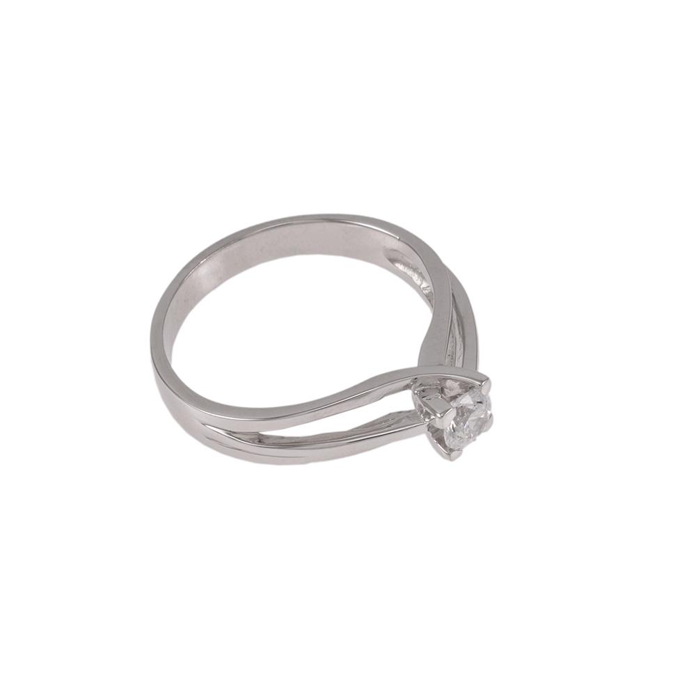 Δακτυλίδι σε λευκό  χρυσό 14ΚΤ με ζιργκόν.