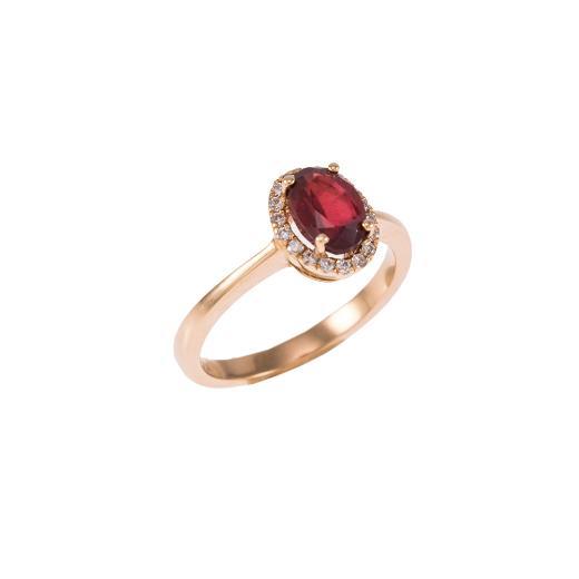 Δακτυλίδι  μονόπετρο σε ροζ χρυσό 18ΚΤ με Ρουμπίνι και Διαμάντια.