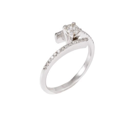 Δακτυλίδι  μονόπετρο και λευκό  χρυσό 18ΚΤ με διαμάντια