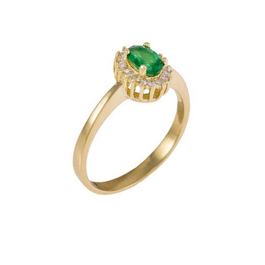 Δακτυλίδι σε κίτρινο χρυσό 18ΚΤ με σμαράγδι και διαμάντια.