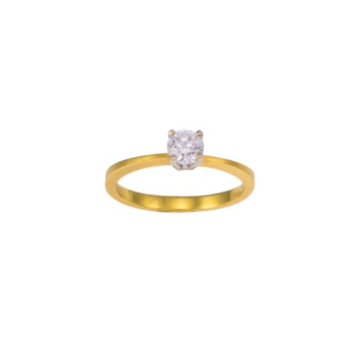 Δακτυλίδι  μονόπετρο σε κίτρινο ματ και λευκό  χρυσό 14ΚΤ με zirgon.
