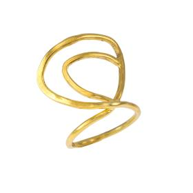 """Δαχτυλίδι """"LINES"""" σε ασήμι επιχρυσωμένο."""