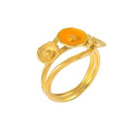 """Δαχτυλίδι """"CAVES"""" σε ασήμι επιχρυσωμένο με πορτοκαλί σμάλτο."""