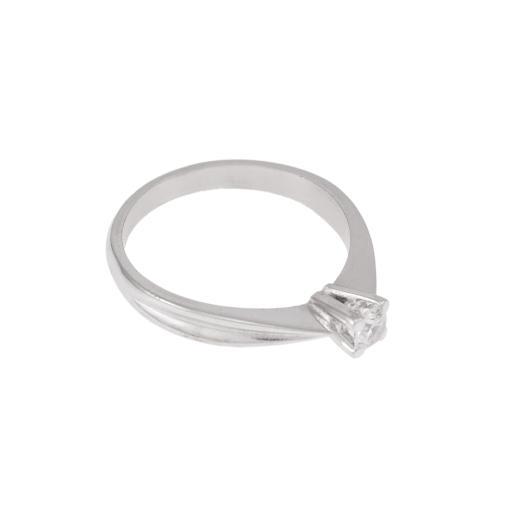 Δακτυλίδι  μονόπετρο σε λευκό  χρυσό 14ΚΤ με ζιργκόν
