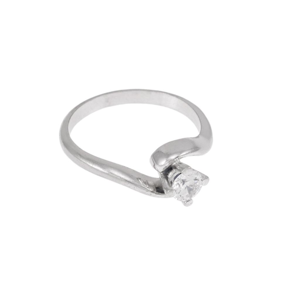 Δακτυλίδι  μονόπετρο λευκό  χρυσό 14 ΚΤ με ζιργκόν