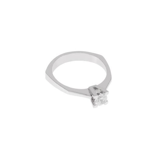 Δακτυλίδι  μονόπετρο σε λευκό χρυσό 14 ΚΤ με ζιργκόν.